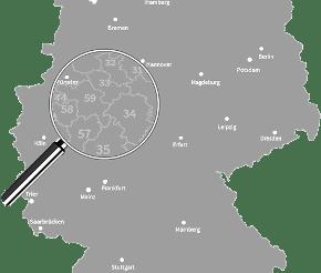 Lupe auf Deutschlandkarte
